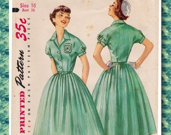 """FF 1950s Bust 36"""" 4-H Club Dress and Crochet Beanie Vintage Sewing Pattern [Simplicity 1700] Size 16, UNCUT"""