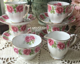 Lovely English Tea Set for 4 Lady Alexander Rose by Bell China 10  piece set