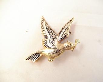 Damascene Bird Pin Signed Spain