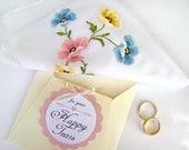 Happy Tears Handkerchief,  Wedding Hanky, Vintage Handkerchief, Mother of Bride Gift, Mother of Groom Gift, Pale Floral Embroidery