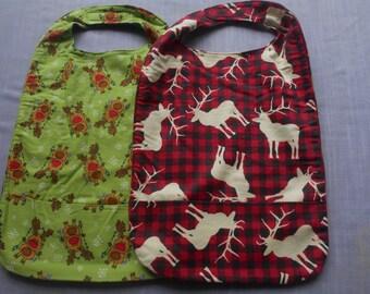 Christmas Deer and Moose MEDIUM REVERSIBLE BIBS with Pocket and Velcro Fastners