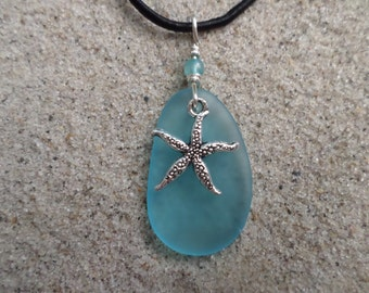 sea glass necklace w. starfish charm