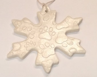 Polymer clay Dog print snow flake,ornaments,collector item,handmade,Christmas gifts