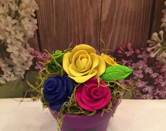polymer clay flower pot, clay flowers,clay roses,