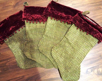Stocking Set (4) - green and burgundy