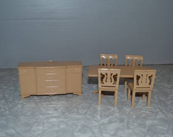 Plasco Dollhouse Dining Room Set Vintage Furniture Table Buffet Epsteam