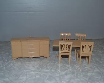 Plasco Dollhouse Dining Room Set ~ Vintage Dollhouse Furniture ~ Dollhouse Table Buffet ~ Epsteam