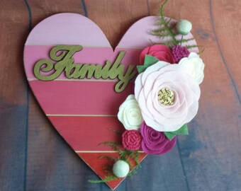 large hand painted wood sign with felt flower/wood sign/heart