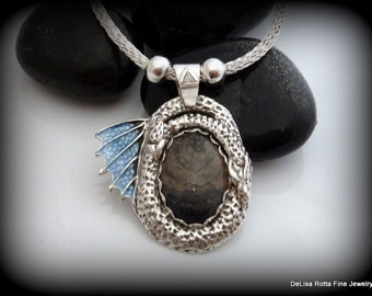 Recycled Silver, Dragon, Genuine Dragon Veins Agate, Pendant, Necklace, Viking, Viking Knit Chain, Gift, USA Free Shipping