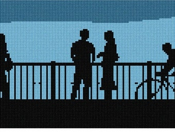 Needlepoint Kit or Canvas: Boardwalk Silhouette Daytime