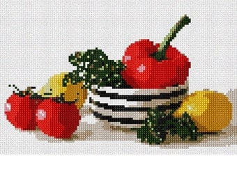 Needlepoint Kit or Canvas: Salad Bowl