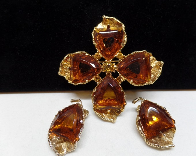 Gorgeous Vintage Topaz Crystal Brooch Set!