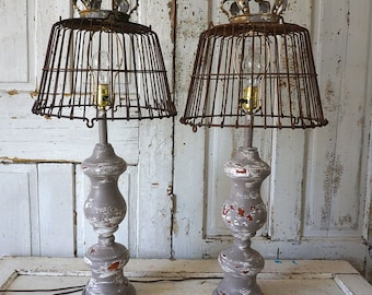 Wooden baluster style table lamps rustic farmhouse distressed wood base recycled rusty basket lampshade lighting decor anita spero design
