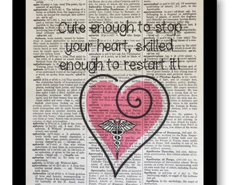 Nurse Cute Enough To Stop Your Heart, Nurses Gifts, Nurse Quote Prints, Quote Art Prints, Nursing School, Dictionary Print, Dictionary Art