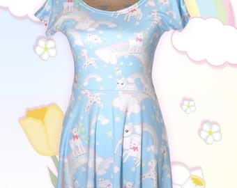 Rainbow Dress Fairy Kei Cap Sleeve Dress Kawaii Pastel Cute Lamb Printed Danilamb Sheep Flower Field Cute Lamb Size XS Through 3XL*PREORDER*