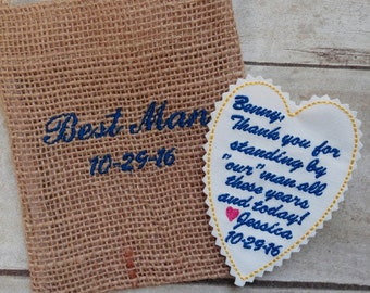 Custom Embroidered Tie Patch - Father of the Bride Gift  - Keepsake for Groom - Best Man - Father of the Groom - Grandfather - Groomsmen -A2