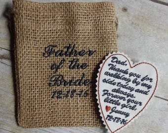 Embroidered Tie Patch - Father of the Bride Gift  - Wedding Keepsake - Best Man Gift - Father of the Groom - Grandfather - Groomsmen -A2