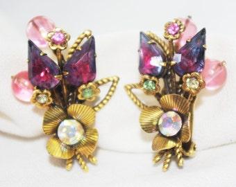 Vintage 1960s Ornate Rhinestone Flower Earrings Purple Pink AB Rhinestone Faceted