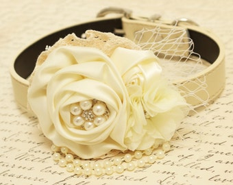 Ivory Floral dog collar, Dog Chokers, Pet wedding, Ivory flowers with Pearls Rhinestone