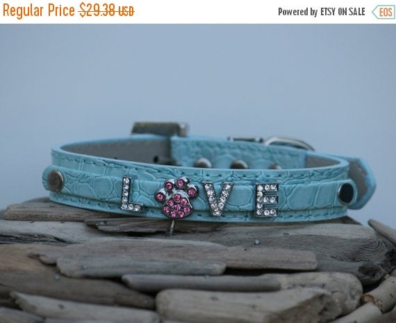 Leather dog collar,  Collar with 3  Rhinestone Letters and Cute Pink Paw Charm- Cute blue Dog Collar- Personalized Dog Collar