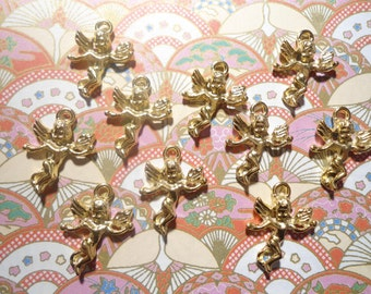 10 Goldplated Cherub Angel Charms