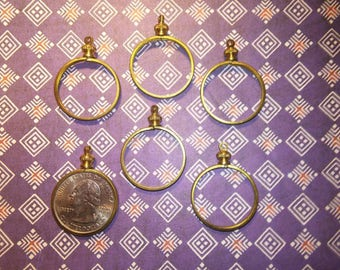 8 Vintage Brass Quarter Coin Bezels