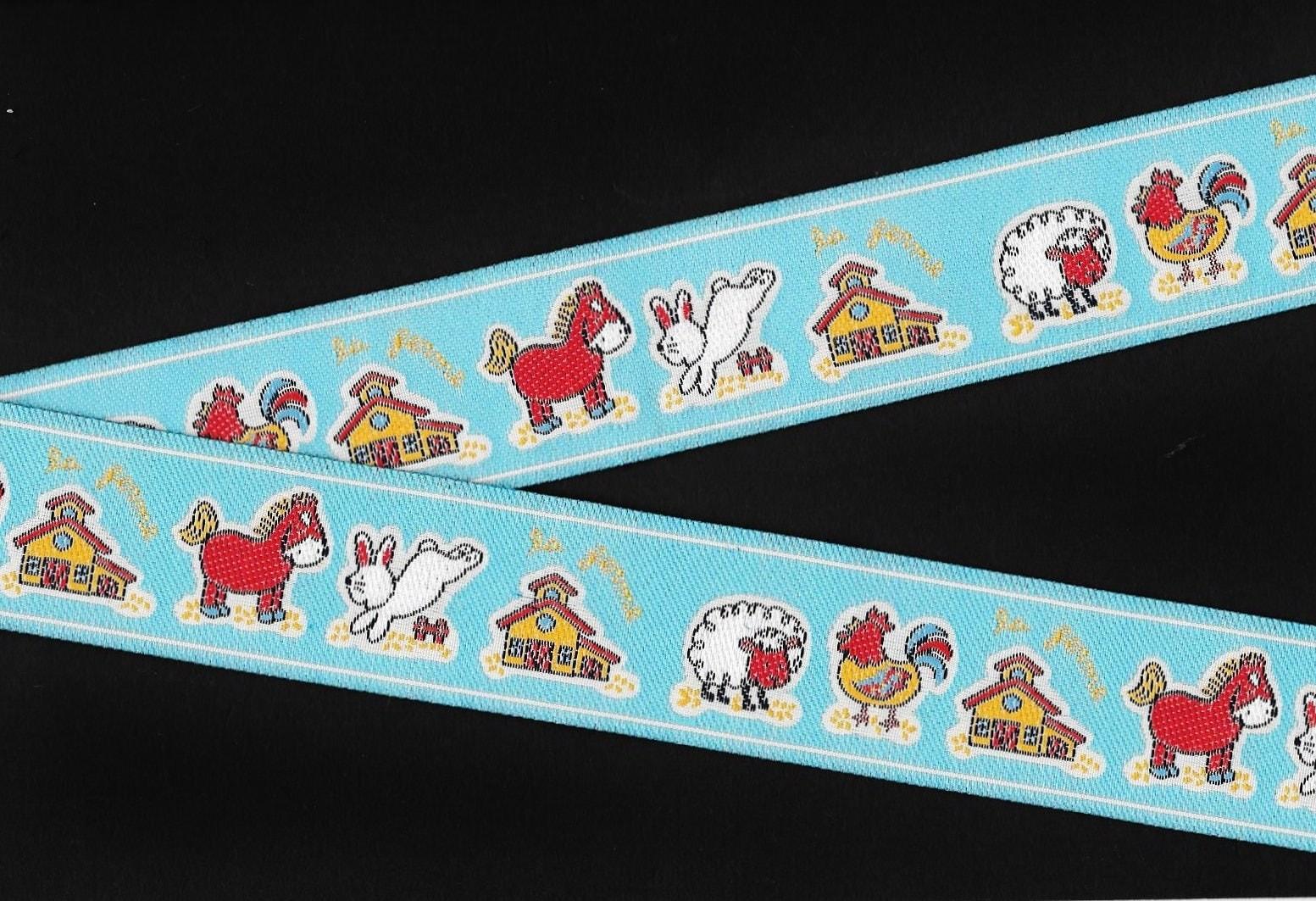 animals  farm jacquard ribbon trim  poly  1 3  8 quot  wide  blue