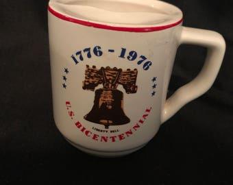 1976 Bicentennial Souvenir Mustache Mug with Liberty Bell