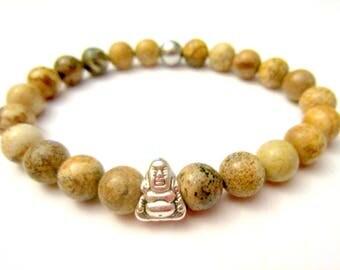 Buddha Statue. Jasper Beads. Protection Bracelet. Reiki Healing. Mala Beads. Buddhist Jewelry. Beaded Bracelet. Yoga Gift.