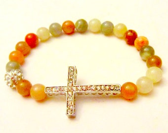 Sunstone Cross Bracelet. Side Cross Bracelet. Sideways Cross Bracelet. Sunstone Stone. Cross Jewelry. Cross Bracelet.