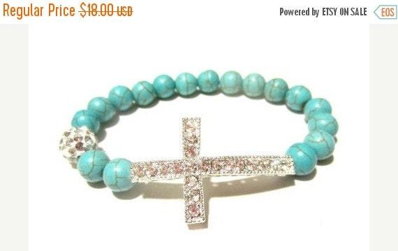 SALE Beaded Sideway Cross Bracelet