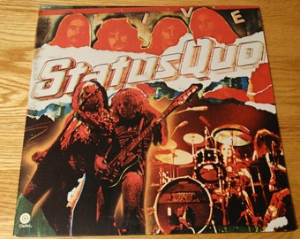 Vintage 1977 Status Quo Live Vinyl Record Album Gate Fold Roadhouse Blues Little Lady Roll Over Lay Down Big Fat Mama Is There A Better Way