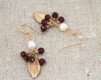 Soyala Earrings: Gold leaf dangles with clusters of faceted garnet beads and freshwater pearl on 14k gold filled ear wires
