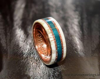 Irish penny coin ring with deer antler and turquoise inlay