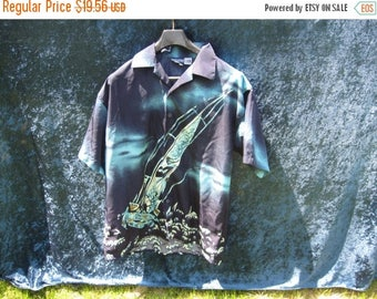 SALE Hawaiian Batik Sail boat dark and light blue , Men's Summer Shirt L chest 48''  80's 90's