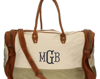 Canvas and Rustic Leather Duffle Bag Monogram Mens or Womens Personalized