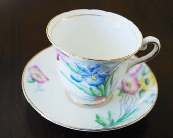 Vintage  tea cup and saucer -bone china - Rosina Floral - numbered