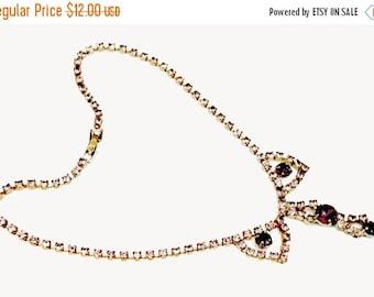 Purple Pink Rhinestone Princess  necklace