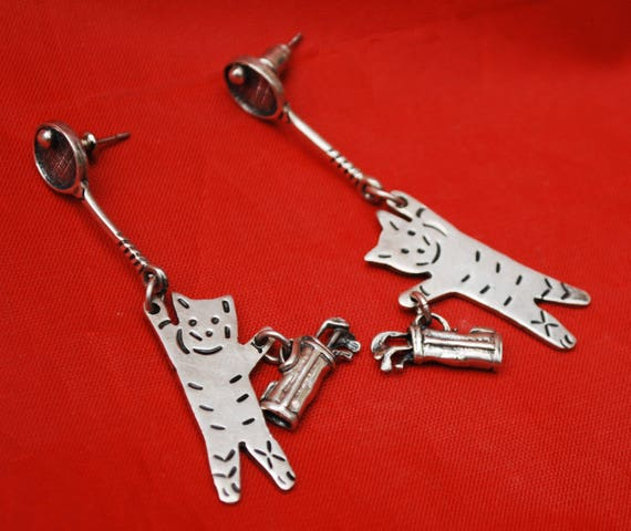 Sterling Cat Earrings - Silver Golf Tennis Sport - Mexico Taxco  - Dangle drop - pierced earring