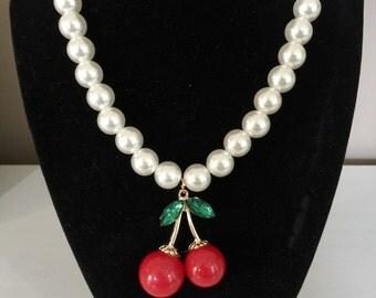 Cherry Beaded Necklace