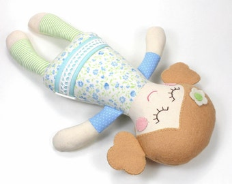 baby doll | soft baby toy |  Rosie doll |  first doll |  baby rag doll |  baby shower gift |  sleeping doll