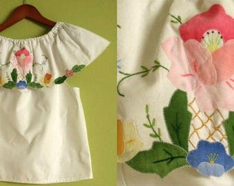 White Off-The-Shoulder Blouse with Hand Embroidered Flowers - Vintage Inspired Boho Chic Hippie Top  Size SMALL Designed by Sandrine Olivier