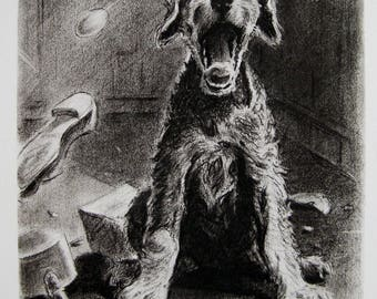 1940s Vintage AIREDALE Terrier Art Print Airedale Illustration Gallery Wall Art Gift for Dog Lovers 2877