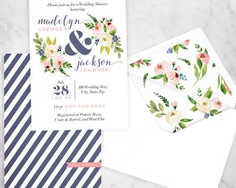Couples Wedding Shower or Baby Shower Invitation, Joint Shower Invite, Watercolor Floral Couples Shower Invitation, Envelope Liner
