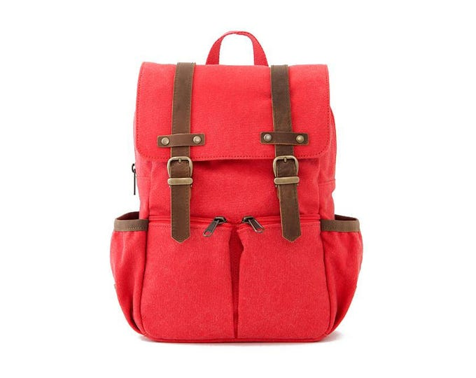 Kids Backpack / Canvas Backpack / Kids Bag / School Backpack / Anti-Lost / Red Canvas / CITYKID
