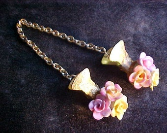 Vintage Floral Sweater Guard Clasp Clip Chain Fastener - Made in England - Staffordshire Bone China Porcelain Flowers - Pink & Yellow Roses
