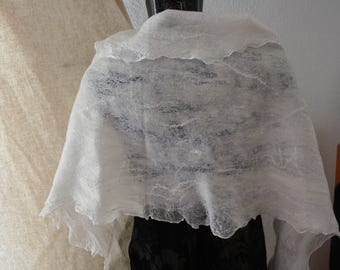 SALE Nuno felted ladies wedding-special occasion wrap with vintage lace corners.