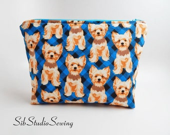 Yorkshire Cosmetic Bag, 9 x 6 x 2 inches, Interior Vinyl Lined for Easy Clean, Zipper Closure, Padded,  Yorkshire Terrier Makeup Bag