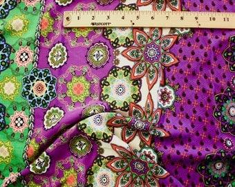 "Green and Purple Mandala Print Rayon Fabric 58"" Wide Per Yard"
