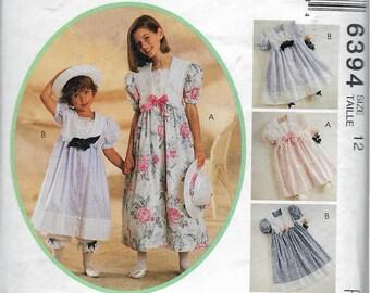 "Vintage 1993 McCall's 6394 Kitty Benson Girl's Dress, Pantaloons & Hatband Sewing Pattern Size 12 Breast 30"""